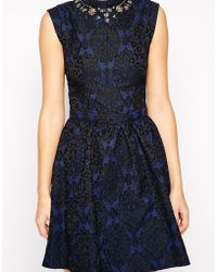 Oasis Embellished Jacquard Lantern Dress - Lyst
