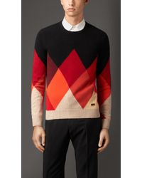 Burberry Cashmere Argyle Sweater - Lyst
