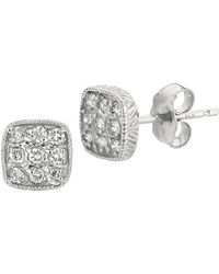 Morris & David - 14k White Gold Diamond Square Stud Earrings, 0.29tcw - Lyst