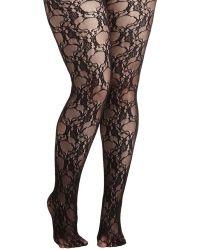 Leg Avenue, Inc. Fleur De Lace Tights In Plus Size black - Lyst