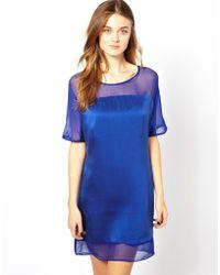 Aryn K. Silk Dress With Sheer Detail - Lyst