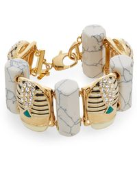 Lele Sadoughi - Egyptian Deco Howlite & Marble Scarab Bracelet - Lyst