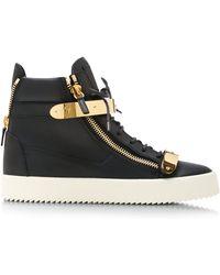 Giuseppe Zanotti Birel Metal and Leather High-top Sneakers - Lyst