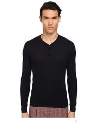 Marc Jacobs Solid Silk Thermal Henley black - Lyst