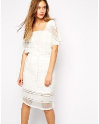 Ganni Lace Dress With V Neck - Lyst