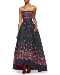Oscar de la Renta Strapless Floral-Embroidered High-Low Gown - Lyst
