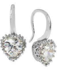 Betsey Johnson Silver-Tone Crystal Heart Drop Earrings silver - Lyst