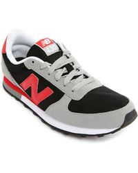 New Balance 430 Grey And Red Leather And Nylon Sneakers - Lyst
