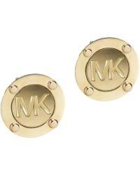 Michael Kors Logo Stud Earrings gold - Lyst