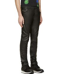 Diesel Black Leather Thavar Dest Trousers - Lyst