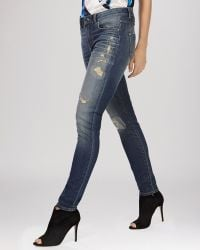 Karen Millen Jeans - Ripped And Frayed Skinny In Denim blue - Lyst