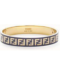 a28d35df5ad4 Lyst - Fendi Monster Eye Double Wrap Leather Bracelet in Blue