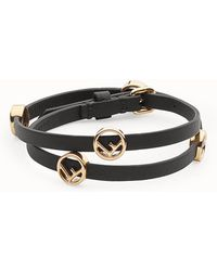 ad133ce3cd5c Lyst - Fendi Double Wrap Bracelet in Black