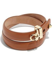 Ferragamo - Gancini Leather Wrap Bracelet - Lyst