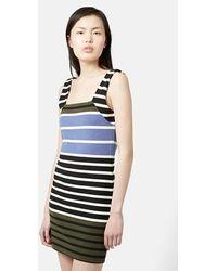 Topshop Stripe Body-Con Tunic Dress black - Lyst