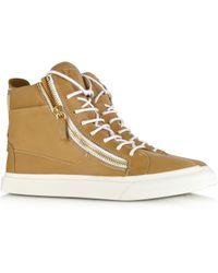 Giuseppe Zanotti Hightop Brown Leather Mens Sneaker - Lyst