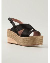Lanvin Black Strappy Sandals - Lyst