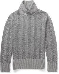 Alexander McQueen Herringboneknit Wool Rollneck Sweater - Lyst