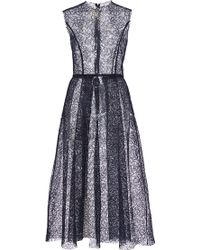 Katie Ermilio Lace High-To-Low Pleat Party Dress blue - Lyst