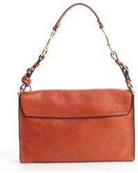 Gucci Orange Leather Logo Stamp Shoulder Bag - Lyst