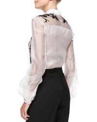 Carolina Herrera Longsleeve Collared Embroidered Blouse Whiteblack - Lyst
