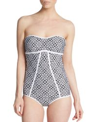 Laundry by Shelli Segal One-Piece Printed Strapless Swimsuit - Lyst