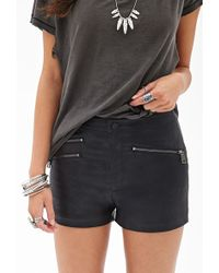 Forever 21 Zippered Faux Leather Shorts - Lyst