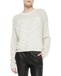 Helmut Lang Mixedknit Fuzzy Pullover Naturalwhite Medium - Lyst