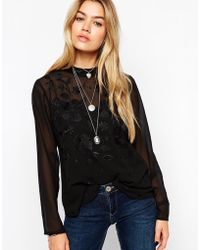 Asos Long Sleeve Embroidered High Neck Top - Lyst