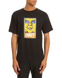 Obey Icon Black T-Shirt With Orange Print - Lyst