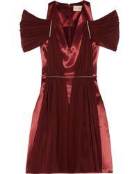 Christopher Kane Chiffon-Paneled Satin Dress - Lyst