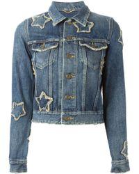 Saint Laurent Star Patch Denim Shirt - Lyst