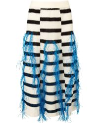 Thakoon White Raffia Fringe Knitted Skirt - Lyst