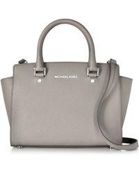 Michael Kors | Pearl Gray Saffiano Leather Selma Medium T/zip Satchel | Lyst