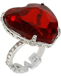 Betsey Johnson - Faceted Heart Ring - Lyst