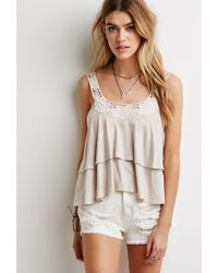 Forever 21 Crochet-Trimmed Tiered Top - Lyst