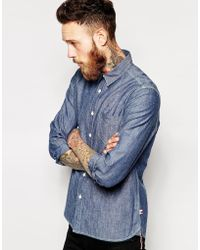 Asos Shirt With Long Sleeves In Japanese Denim - Lyst