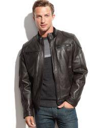 Calvin Klein Leather Moto Jacket - Lyst