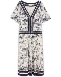 Tory Burch Silk Interlock V-Neck Dress - Lyst