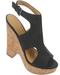 Franco Sarto Glamour Gobi Leather Wedge Sandals - Lyst