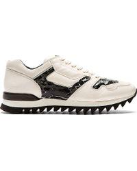 Alexander McQueen Grey Python Accent Sneakers - Lyst