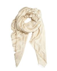 Alexander McQueen Camel and Ivory Logo Printed Cotton Blend Scarf - Lyst