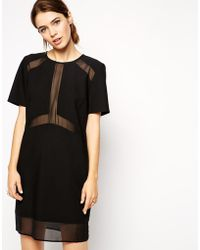 Asos Sheer and Solid T-shirt Dress - Lyst