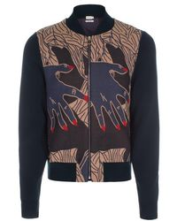Paul Smith Petrol Blue Hands Jacquard Cotton-Blend Bomber Jacket - Lyst
