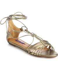 Ralph Lauren Collection Mabelle Metallic Leather Flat Ankle-Tie Sandals - Lyst