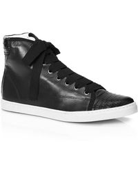 Lanvin | Leather High-Top Sneakers | Lyst