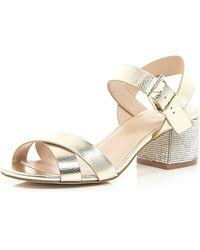 River Island Gold Leather Diamante Block Heel Sandals - Lyst
