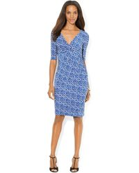 Lauren by Ralph Lauren Three Quarter Sleeve Printed Jersey Dress - Lyst