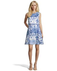 Notte By Marchesa Royal Blue Printed Silk Satin Cocktail Dress - Lyst