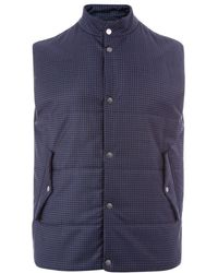 Paul Smith | Men's Navy Micro-check Wool Wadded Gilet | Lyst